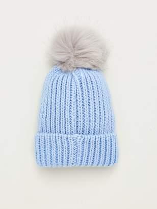 Very Faux Fur Knit Pom Pom Beanie