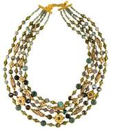 Jose & Maria Barrera Agate, Wood & Crystal Bead Multistrand Necklace