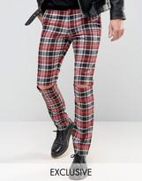 Reclaimed Vintage Skinny Plaid Pants With Knee Rips