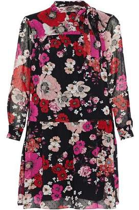 Mikael Aghal Pussy-bow Pleated Floral-print Fil Coupe Chiffon Dress