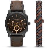 Fossil Machine Chronograph Dark Brown Leather Watch and Bracelet Box Set