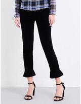 J Brand Ladies Black Cropped Ruby Skinny High-Rise Velvet Jeans
