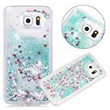 Urberry Galaxy S6 Case, Blue Running Glitter Cover, Flowing Liquid Floating Luxury Bling Glitter Sparkle Hard Case for Samsung Galaxy S6 with a Free Screen Protector