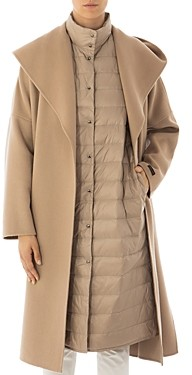 Peserico Hooded Wool & Cashmere 2-in-1 Coat & Down Vest
