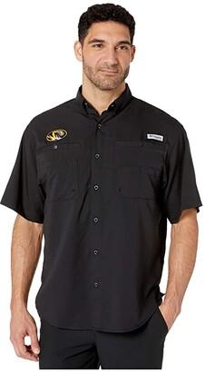 Columbia College Missouri Tigers Collegiate Tamiamitm II Short Sleeve Shirt (Black) Men's Short Sleeve Button Up