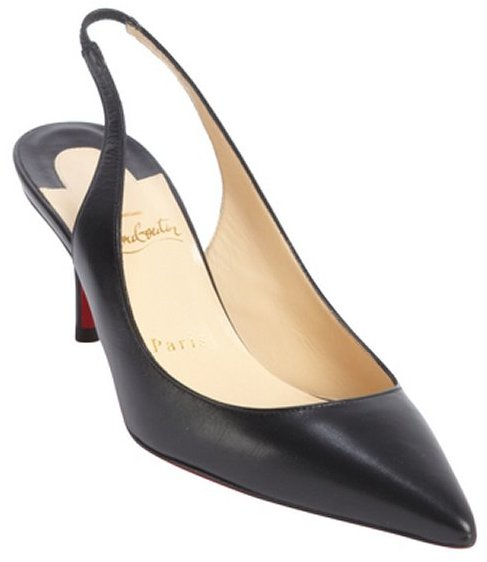 Christian Louboutin black leather 'Apostrophy Sling 70' pointed toe slingback pumps