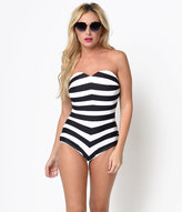 Unique Vintage Black & White Stripe Barbara One-Piece Swimsuit