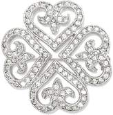 goldia Rhodium-plated Synthetic Cz Clover Pin