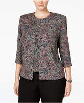 Alex Evenings Plus Size Printed Glitter Jacket and Shell Set