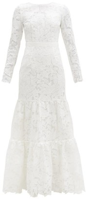 Self-Portrait Tiered Floral-embroidered Tulle Gown - White