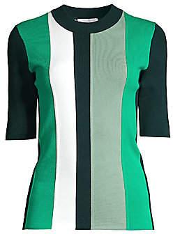 BOSS Women's Faspen Colorblock Vertical Stripe Knit Top