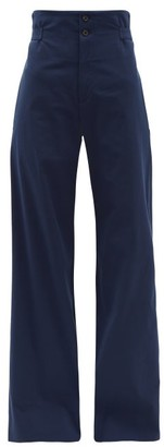 Connolly - High-rise Cotton-blend Wide-leg Trousers - Womens - Navy