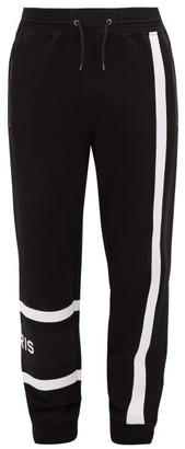 Givenchy Logo-embroidered Cotton-jersey Track Pants - Mens - Black White