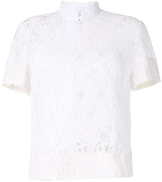 Comme des Garcons Floral Lace Embroidered Frayed Edge Top