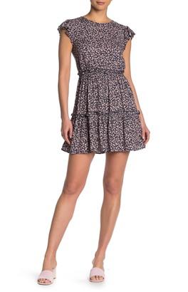Max & Ash Ruffle Cap Sleeve Floral Print Mini Dress