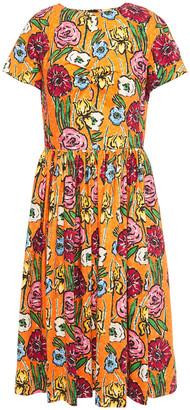 Marni Gathered Floral-print Cotton-poplin Dress
