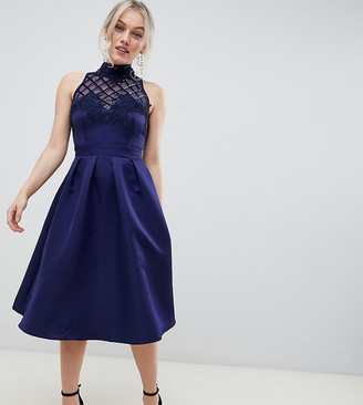 Little Mistress Petite high neck prom dress with floral applique and sequin detail-Navy