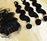 "DaJun Hair 7A 3 Way Part Lace Closure with 3 Bundles Philippines Virgin Remy Human Hair Body Wave Natural Color (trademark:DaJun)20""closure+18""18""18""weft"