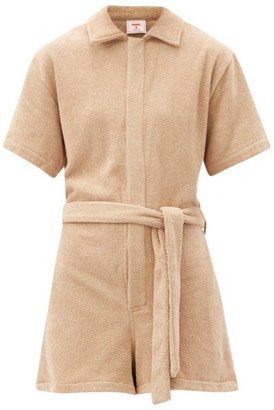 Terry - Il Pareo Belted Cotton-terry Playsuit - Tan