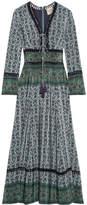 Sea Crochet-trimmed Printed Silk Maxi Dress - Emerald
