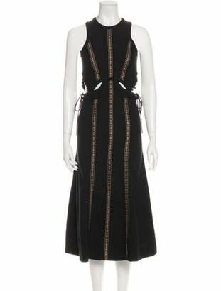 Self-Portrait Crew Neck Midi Length Dress w/ Tags Black