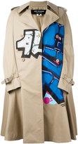 Junya Watanabe Comme Des Garçons - printed trench coat - women - Cotton - XS