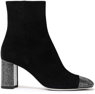 Rene Caovilla Rene' Caovilla Crystal-embellished Suede Ankle Boots