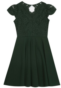 Rare Editions Big Girl Scuba Crepe Skater Dress With Lace Bodice