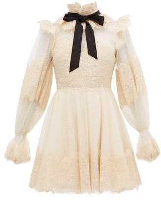 Zimmermann Espionage Pussy-bow Guipure-lace Mini Dress - Womens - Beige