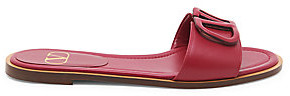Valentino Women's Garavani V-Logo Leather Slide Sandals