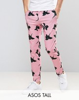 Asos Tall Skinny Smart Trousers In Pink Floral Print