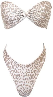 Terra Dea V Shape Bottoms & Bandeau Bikini Top - Set - Reversible Leopard/White
