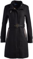 Cole Haan Black Long Wool-Blend Funnel Collar Coat
