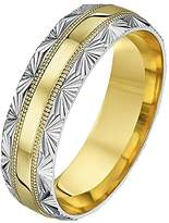 Theia His & Hers 14ct Yellow and White Gold Two-Tone 4mm 'Half Fan' Millgrain Wedding Ring - Size M