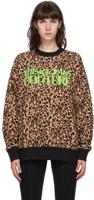 Versace Beige and Black Leopard Logo Sweatshirt