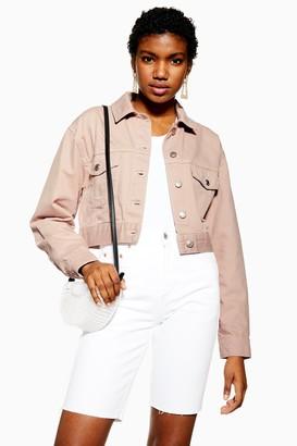 Topshop Mink Pink Tapered Denim Jacket