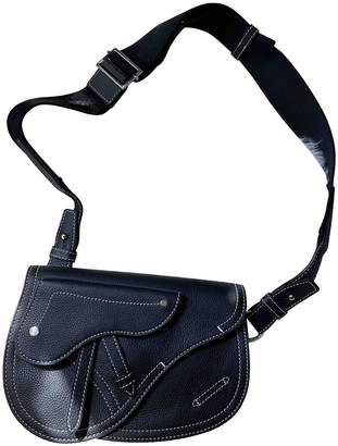 Christian Dior Saddle Black Leather Bags