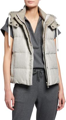 Brunello Cucinelli Linen-Lurex Puffer Vest w/ Removable Hood