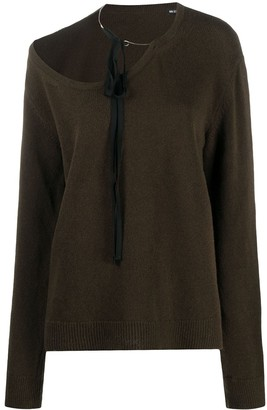 Ann Demeulemeester Asymmetric Scoop Neck Jumper