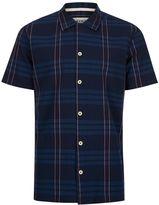 Topman HYMN Navy Minimal Check Short Sleeve Resort Shirt*