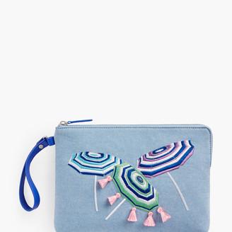 Talbots Embroidered Clutch - Beach Umbrellas