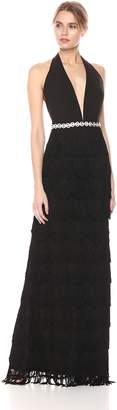 Mac Duggal Women's Fringe Halter Gown Black