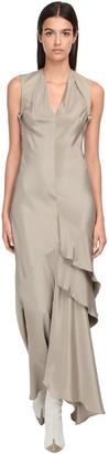 Max Mara Fluid Silk Long Dress W/ Ruffles