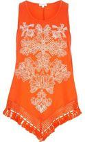 River Island Womens Orange print triangle fringe hem top