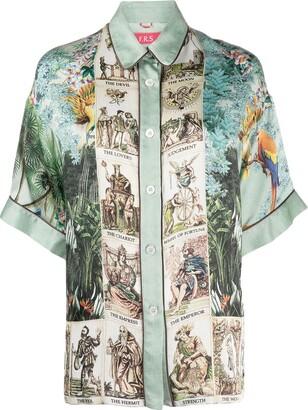F.R.S For Restless Sleepers Eupheme contrast print silk shirt
