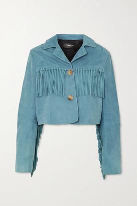 Amiri Oversized Fringed Suede Jacket - Blue
