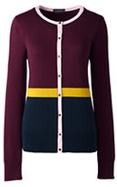 Lands' End Women's Tall Supima Colorblock Cardigan Sweater-Burgundy Colorblock