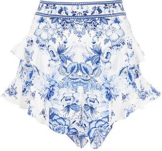 Camilla Floral-Print Silk Shorts