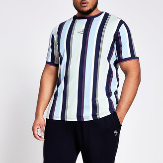 River Island Big and Tall blue stripe slim fit T-shirt