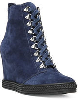 Fergie Jillian Suede Wedge Lace Up Booties
